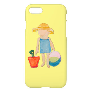 Butter Yellow Toddler Baby Girl at Beach iPhone 7 Case