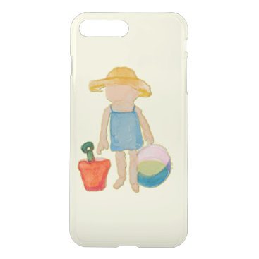 Beach Themed Butter Yellow Toddler Baby Girl at Beach iPhone 7 Plus Case