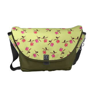 Butter Yellow with Pink Flowers Messenger Bag