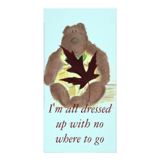 Butterbear Cartoon Maple Leaf Photo Card