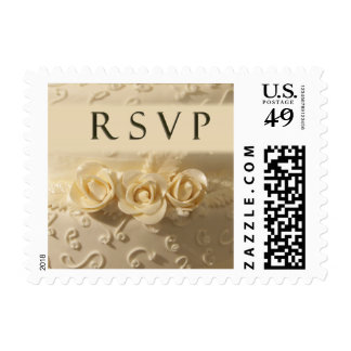 Buttercream RSVP wedding cake with roses Stamp