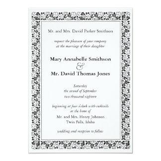 Buttercup border wedding invitation