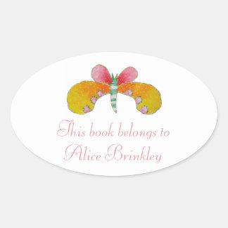 Buttercup Butterfly Bookplate Oval Sticker