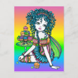 """""""Buttercup"""" Cup Cake Candy Couture Rainbow Fairy Postcard"""