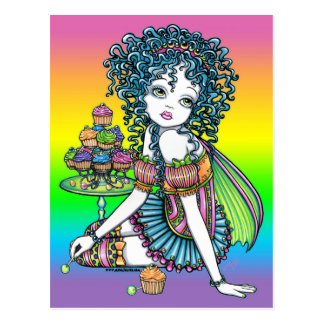 """""""Buttercup"""" Cup Cake Couture Rainbow Fairy Art Postcard"""