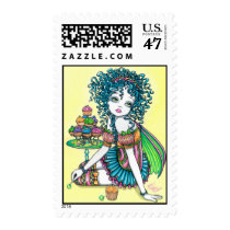 cup, cake, candy, rainbow, fairy, faerie, faery, fae, fairies, pixie, cute, buttercup, fantasy, art, myka, jelina, characters, Stamp with custom graphic design
