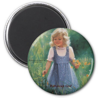 Buttercup Girl 2 Inch Round Magnet
