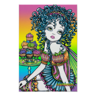 """""""Buttercup"""" Romantic Cup Cake Fairy Art Poster"""