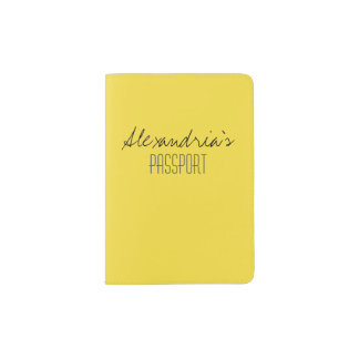 Buttercup Sunny Bright Yellow Solid Color Custom Passport Holder