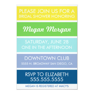 Buttercup to Snorkel Blue Bridal Shower Invitation