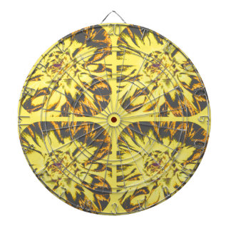 Buttercup Yellow  Collage Dahlia Flower Pattern Dart Board