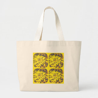 Buttercup Yellow  Collage Dahlia Flower Pattern Large Tote Bag