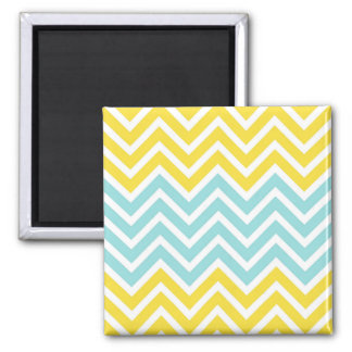 Buttercup Yellow Limpet Shell Aqua White Chevrons 2 Inch Square Magnet