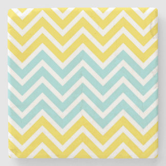 Buttercup Yellow Limpet Shell Aqua White Chevrons Stone Coaster