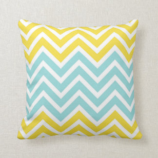 Buttercup Yellow Limpet Shell Aqua White Chevrons Throw Pillow