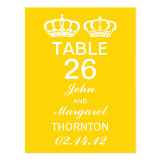 Buttercup Yellow Royal Couple Table Numbers Postcard