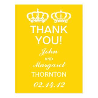 Buttercup Yellow Royal Couple Thank You Postcard