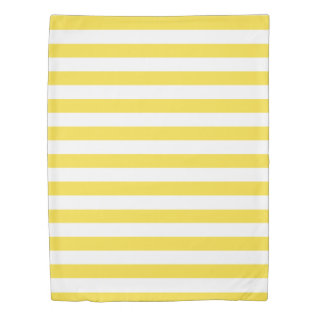 Buttercup Yellow & White Striped Duvet Cover at Zazzle