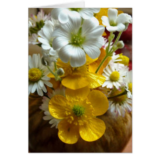 Buttercups and daisies card