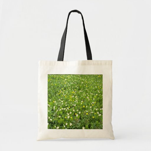 Buttercups and thimbleweed White flowers Tote Bags