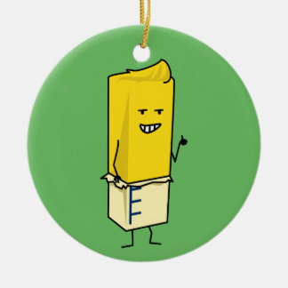 Buttered Buttery Stick of Butter Happy Thumbs Up Ceramic Ornament