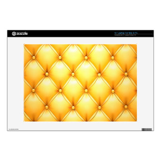 Buttered Popcorn Yellow Buttoned Tuft Leather Decals For Laptops