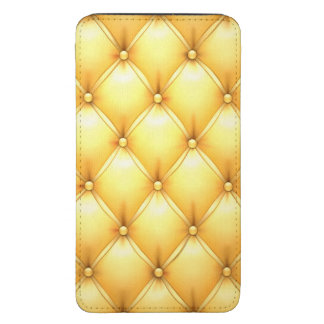 Buttered Popcorn Yellow Buttoned Tuft Leather Galaxy S5 Pouch