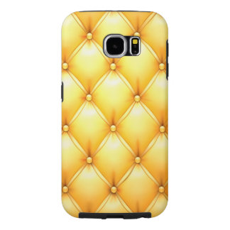 Buttered Popcorn Yellow Buttoned Tuft Leather Samsung Galaxy S6 Cases