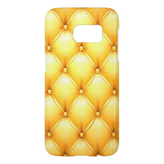 Buttered Popcorn Yellow Buttoned Tuft Leather Samsung Galaxy S7 Case