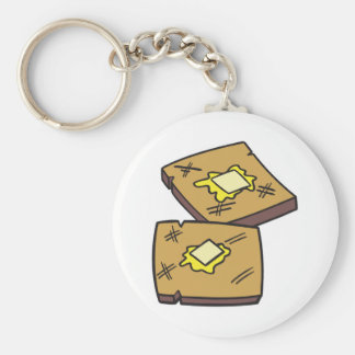buttered toast basic round button keychain