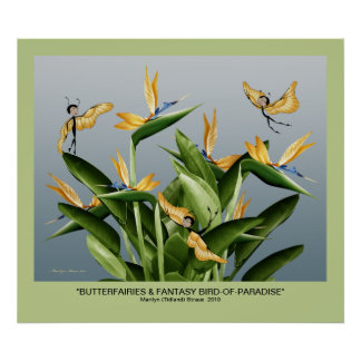 """Butterfairies & Fantasy Bird-of-Paradise"" Posters"