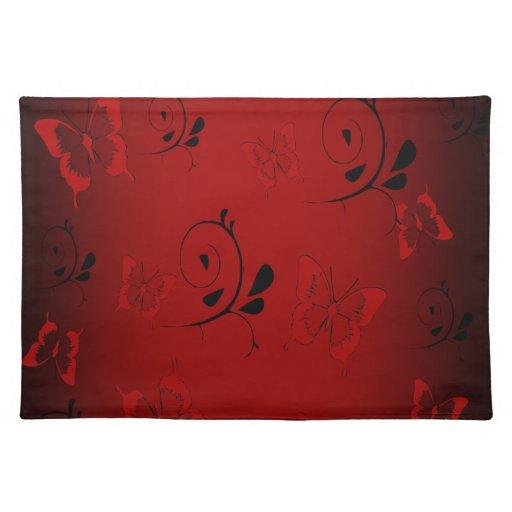 Butterfies rojo y remolinos manteles individuales