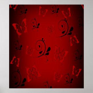 Butterfies rojo y remolinos póster