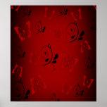 Butterfies rojo y remolinos posters