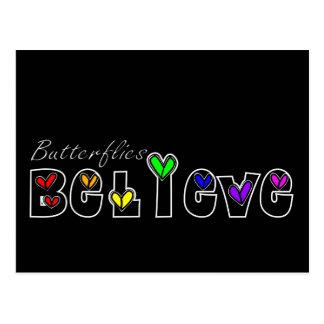 Butterfiles Believe (Black) Postcard