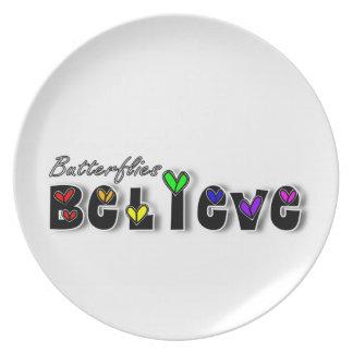Butterfiles Believe Dinner Plate