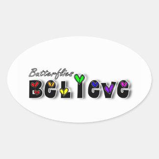 Butterfiles Believe Oval Sticker