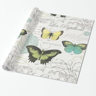 butterfiles botánicos del vintage moderno papel de regalo
