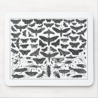 Butterfiles moths and insects B&W pattern picture Mouse Pad