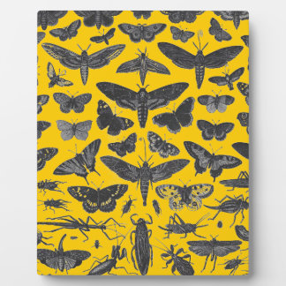 Butterfiles moths and insects B&W pattern picture Display Plaques