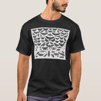 Butterfiles moths and insects B&W pattern picture T-Shirt