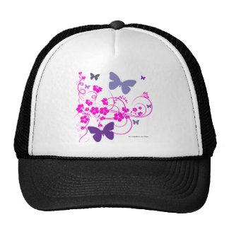 butterfliers and flowers trucker hat
