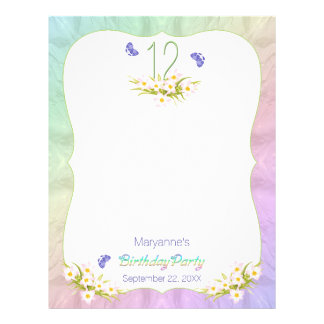 Butterflies 12th Birthday Party Activity Sheet Letterhead