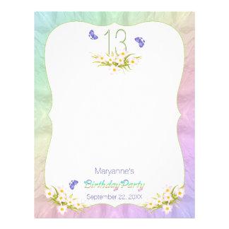 Butterflies 13th Birthday Party Activity Letterhead