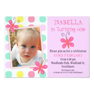 Butterflies 1st Or 2nd Birthday Party Invitation 11 Cm X 16 Cm Invitation Card