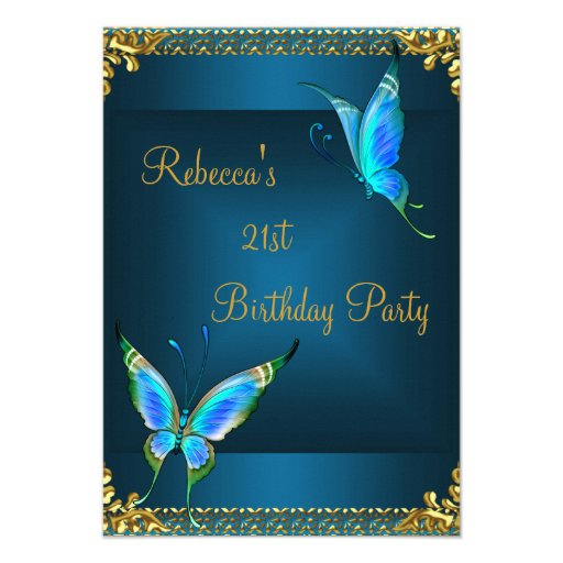 Butterflies 21st Birthday Party Blue Teal Announcements