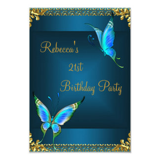 "Butterflies 21st Birthday Party Blue Teal 3.5"" X 5"" Invitation Card"