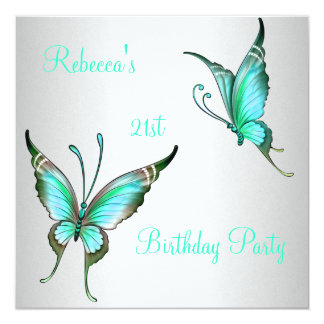Butterflies 21st Birthday Party Green White Card