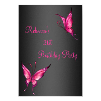 Butterflies 21st Birthday Party Pink Black Card