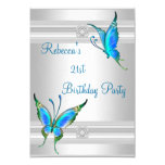 Butterflies 21st Birthday Party White Silver Teal 3.5x5 Paper Invitation Card